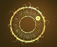 Astrologisymboler i guld- cirkel Fisken undertecknar Arkivfoton