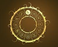 Astrologisymboler i guld- cirkel Havsgettecknet Arkivfoto