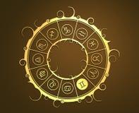 Astrologisymboler i guld- cirkel Kopplar samman tecknet Royaltyfri Fotografi