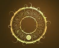 Astrologisymboler i guld- cirkel Krabbatecknet Royaltyfri Bild