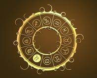 Astrologisymboler i guld- cirkel Lejontecknet Royaltyfria Foton