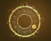 Astrologisymboler i guld- cirkel RAMtecknet Arkivbilder