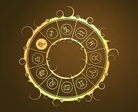 Astrologisymboler i guld- cirkel Skorpiontecknet Arkivfoto