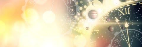 Astrologizodiak med tid och utrymme och planeter och guld- ljus royaltyfri bild