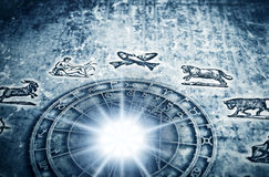 Astrology. Zodiac with astrological signs in old grunge style with flare of light stock illustration