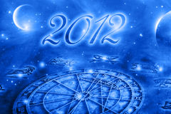 Astrology and 2012. Astrological horoscope with planets and new year 2012 Royalty Free Stock Images
