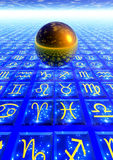 Astrology. 3d render of a golden sphere floating over a floor with zodiacal symbols stock illustration