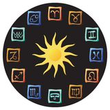 Astrology. Symbols on a black background Royalty Free Stock Image