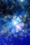 Astrology. Astrological signs with planets over mystic blue background with stars stock illustration