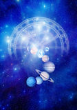 Astrology. Planets with astrological horoscope and starry background Stock Images