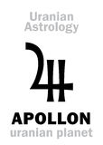 Astrology: APOLLON (uranian planet). Astrology Alphabet: APOLLON, Uranian planet (trans-neptunian point). Hieroglyphics character Royalty Free Stock Image