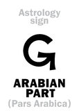 Astrology: ARABIAN PART. Astrology Alphabet: ARABIAN PART (Pars Arabica), point of horoscope. Hieroglyphics character sign (single symbol&#x29 Royalty Free Stock Photography