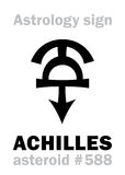 Astrology: asteroid ACHILLES. Astrology Alphabet: ACHILLES, asteroid #588. Hieroglyphics character sign (single symbol&#x29 Royalty Free Stock Photography