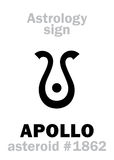 Astrology: asteroid APOLLO. Astrology Alphabet: APOLLO (Musagetes), asteroid #1862. Hieroglyphics character sign (single symbol&#x29 Royalty Free Stock Photos