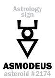 Astrology: asteroid ASMODEUS. Astrology Alphabet: ASMODEUS (Hashmedai), asteroid #2174. Hieroglyphics character sign (single symbol&#x29 Royalty Free Stock Images