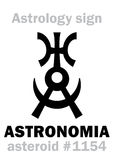 Astrology: asteroid ASTRONOMIA. Astrology Alphabet: ASTRONOMIA (Uranography), asteroid #1154. Hieroglyphics character sign (original single symbol Stock Images