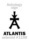 Astrology: asteroid ATLANTIS. Astrology Alphabet: ATLANTIS, asteroid #1198. Hieroglyphics character sign (single symbol&#x29 Royalty Free Stock Photography