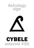 Astrology: asteroid CYBELE (Magna Mater). Astrology Alphabet: CYBELE (Magna Mater), asteroid #65. Hieroglyphics character sign (single Royalty Free Stock Image
