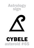 Astrology: asteroid CYBELE (Phrygia). Astrology Alphabet: CYBELE (Phrygia), asteroid #65. Hieroglyphics character sign (single symbol&# Royalty Free Stock Photos