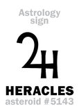 Astrology: asteroid HERACLES (Hercules). Astrology Alphabet: HERACLES (Hercules), asteroid #5143. Hieroglyphics character sign (single Stock Illustration