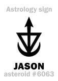 Astrology: asteroid JASON. Astrology Alphabet: JASON, asteroid #6063. Hieroglyphics character sign (single symbol&#x29 Royalty Free Stock Images