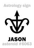 Astrology: asteroid JASON. Astrology Alphabet: JASON, asteroid #6063. Hieroglyphics character sign (single symbol&#x29 Stock Photos