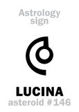 Astrology: asteroid LUCINA. Astrology Alphabet: LUCINA (Lux), asteroid #146. Hieroglyphics character sign (single symbol&#x29 Stock Image