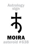 Astrology: asteroid MOIRA. Astrology Alphabet: MOIRA, asteroid #638. Hieroglyphics character sign (single symbol&#x29 Royalty Free Stock Photography