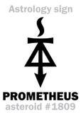 Astrology: asteroid PROMETHEUS. Astrology Alphabet: PROMETHEUS, asteroid #1809. Hieroglyphics character sign (single symbol) stock illustration