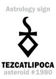 Astrology: asteroid TEZCATLIPOCA. Astrology Alphabet: TEZCATLIPOCA (Smoking Mirror), asteroid #1980. Hieroglyphics character sign (single symbol&# Royalty Free Stock Image