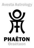 Astrology: astral planet PHAËTON / Faridon (Θraētaon). Astrology Alphabet: PHAETON (Faridon/Fereydun/Thraetaona), Avestian vedic stock illustration