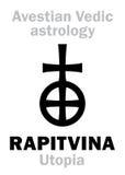 Astrology: astral planet RAPITVINA (Utopia). Astrology Alphabet: RAPITVINA (Utopia), Avestian vedic astral faraway tellurian planet stock illustration