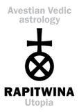 Astrology: astral planet RAPITWINA (Utopia). Astrology Alphabet: RAPITWINA (Utopia), Avestian vedic astral faraway tellurian planet stock illustration