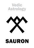 Astrology: astral planet SAURON. Astrology Alphabet: SAURON, Vedic astral planet. Hieroglyphics character sign (single symbol) stock illustration