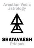 Astrology: astral planet SHATAVAESH (Priapus). Astrology Alphabet: SHATAVAESH (Priapus), Avestian vedic astral male planet. Hieroglyphics royalty free illustration