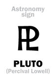 Astrology: astronomical sign of PLUTO. Astrology Alphabet: sign of PLUTO (PL), planetoid. Hieroglyphics character sign (astronomical symbol&#x29 Royalty Free Stock Photo