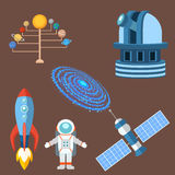 Astrology astronomy icons planet science universe space radar cosmos sign universe vector illustration. Royalty Free Stock Photo