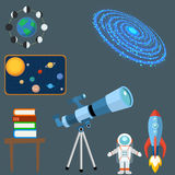 Astrology astronomy icons planet science universe space radar cosmos sign universe vector illustration. Stock Images