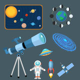 Astrology astronomy icons planet science universe space radar cosmos sign universe vector illustration. Astrology astronomy icons planet science and universe Stock Photos