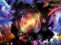 Astrology Backdrop. Abstract design made of scarab symbols, shapes and abstract design elements on the subject of astrology, destiny, fate, horoscope, future and Stock Photo