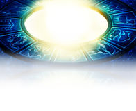 Astrology background. Blue zodiac with light and copy space like astrology background Royalty Free Stock Image