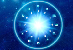Astrology background. Zodiac symbols over blue Universe background like a astrology concept Royalty Free Stock Image