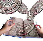 Astrology book in hands and horoscope wheels stock photos