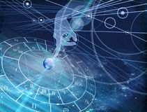 Astrology chart on the blue background. Astrological chart on the blue background of the starry sky Stock Photography