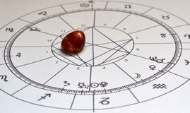 Astrology chart  Red Jasper Natural stone Crystal Natal chart. Astrology chart with a  Red Jasper crystal. Natural stone in the center.  Natal chart in the Royalty Free Stock Images
