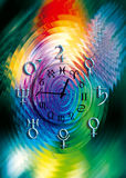 Astrology clock. Astrological clock surrounded by symbol of planets over a colored background royalty free illustration