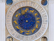 Astrology clock San Marco. Zodiac clock at San Marco square in Venice stock images