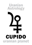 Astrology: CUPIDO (uranian planet). Astrology Alphabet: CUPIDO (Amur), Uranian planet (trans-neptunian point&#x29 Royalty Free Stock Images