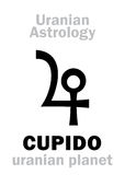 Astrology: CUPIDO (uranian planet). Astrology Alphabet: CUPIDO, Uranian planet (trans-neptunian point). Hieroglyphics character sign Royalty Free Stock Photos