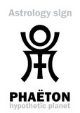 Astrology: destroyed planet PHAËTON. Astrology Alphabet: PHAËTON, hypothetic destroyed planet. Hieroglyphics character sign (single symbol&#x29 Royalty Free Stock Photos